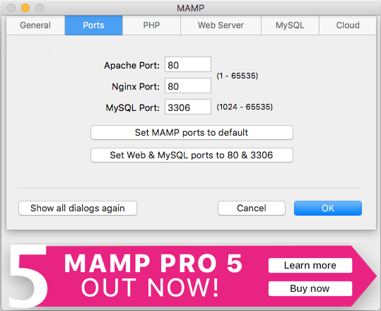 MAMP 80 & 3306 Ports