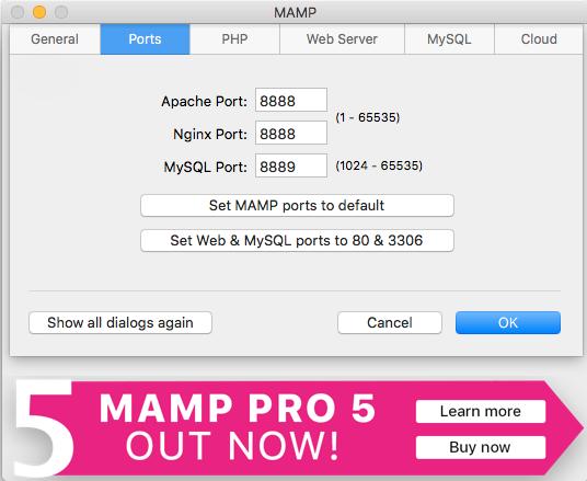 MAMP default Ports