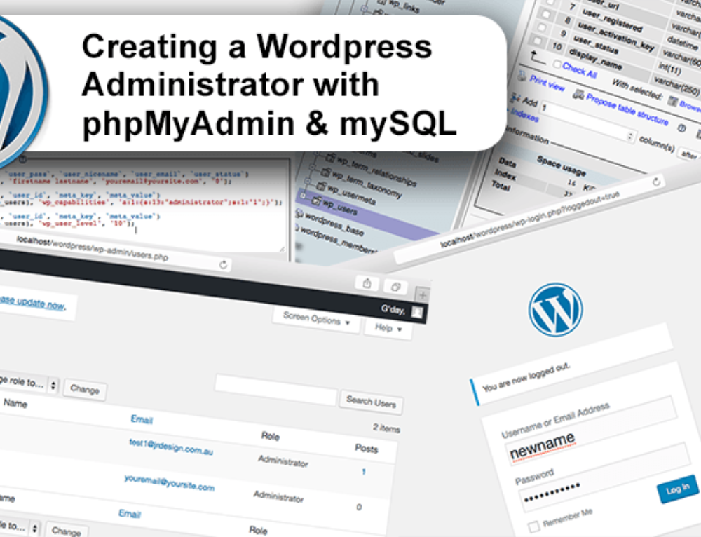 Creating a WordPress Administrator with phpMyAdmin and mySQL