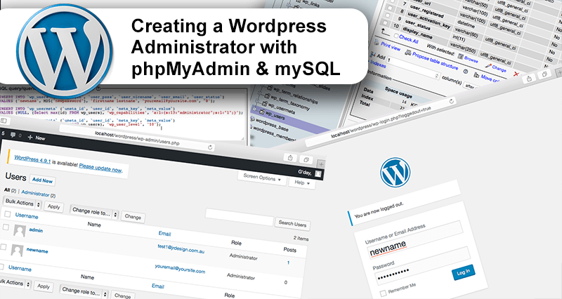 Creating a WordPress Administrator with phpMyAdmin and mySQL