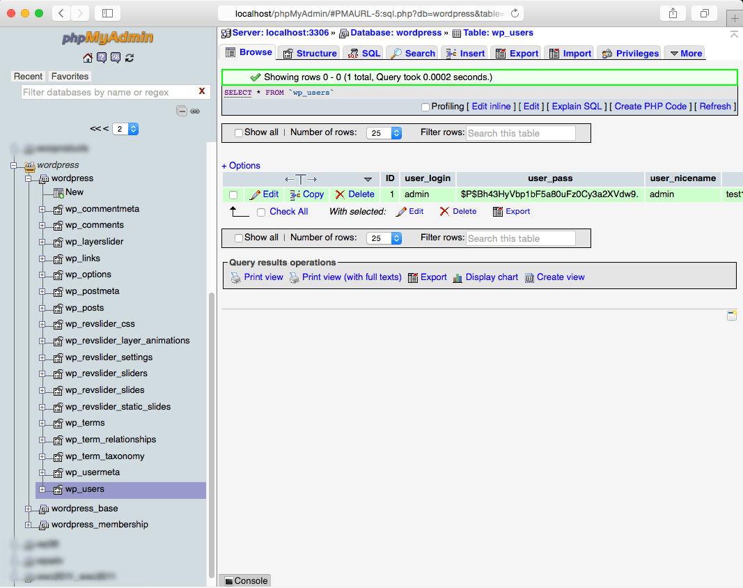 Creating a Wordpress Administrator with phpMyAdmin and mySQL step 3