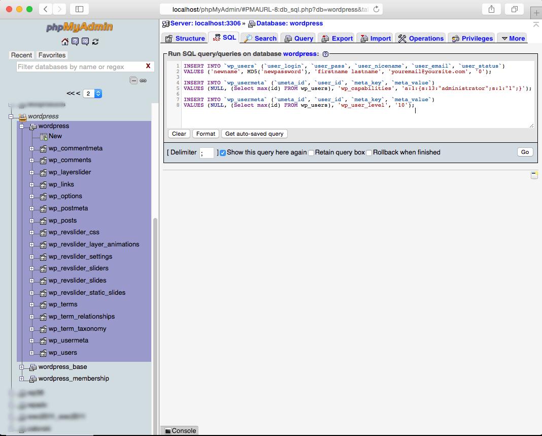 Creating a Wordpress Administrator with phpMyAdmin and mySQL step 4