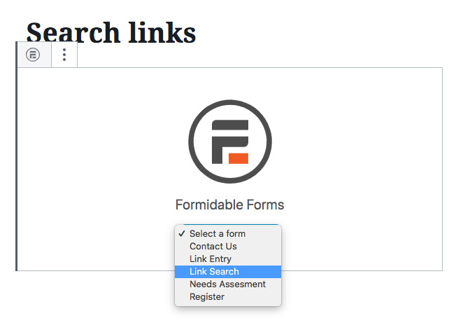 Insert search form
